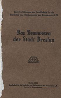 Das Brauwesen der Stadt Breslau
