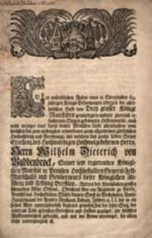 [Nekrolog Wilhelma Dietricha von Buddenbrocka zm. 28.03.1757. inc.:] Den unsterblichen Ruhm eines in Ehrenvollen [...].