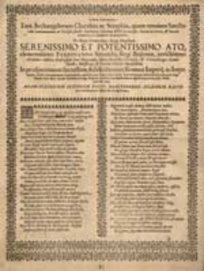 Eudokia Gratulatoria. Tam Archangelorum Cherubin ac Seraphin [...] Ferdinando Secundo, Regi Bojëmiae, invictissimo [...].