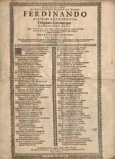 Serenissimo Potentissimo que Principii Ac Domino […] Ferdinando […].