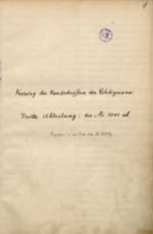 Katalog der Handschriften der Rehdigerana. Abt. 3 [R 3101 - R 3526]