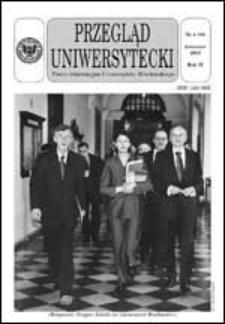 Przegląd Uniwersytecki (Wrocław) R.9 Nr 4 (85) kwiecień 2003
