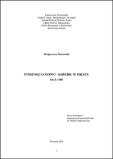Stosunki państwo - Kościół w Polsce 1945-1989 - Wstęp