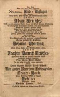 Bey Dem Anno 1729. den 8. Maj. angestellten [...] Leich-Begängniß [...] Adam Fritsches [...] Als [...] Seine [...] Enckelin Johanna Charlotta [...] Joachim Heinrich Fritsches [...] Töchterlein Dem [...] Groß-Vater In die seelige Ewigkeit voran gegangen / Suchte [...] Seine [...] Pflicht zu bezeigen [...] Christian Zimmer, Rect.