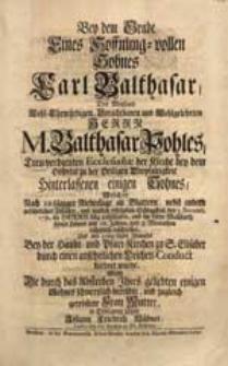 Bey dem Grabe Eines [...] Sohnes Carl Balthasar [...] M. Balthasar Pohles [...] Sohnes, Welcher [...] den 2. Novemb. 1731. [...] entschlafen [...] / Wolte [...] in Erwegung ziehen Johann Friedrich Hübner [...].