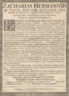 Zacharias Hermannus SS. Theol. Doctor, Ecclesiae [...]