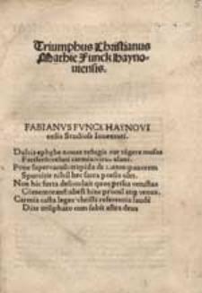 Triumphus Christianus Mathie Funck haynoviensis.