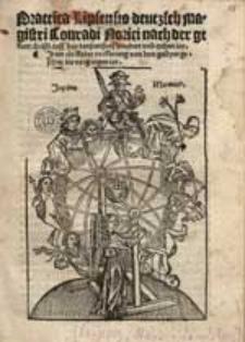 Practica Lipsensis deutzsch magistri Conradi Norici nach der geburt christi auff das tausentfunfhundert und tzehen iar. Item ein kleine vorklerung von dem gestyrn gesehen im vorgangen iar.