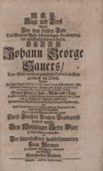 Klage und Trost Wurde Bey dem [...] Tode [...] Herrn Johann George Sauers [...] entworffen [...] von [...] Brüdern [i.e. Gottfried Böttner, Caspar Damian Böttner, Christian Böttner].