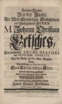 Kindliche Thränen bey der Baare [...] Johann Christian Letsches [...] Wolte [...] abstatten [...] Johann Christian Deutschmann [...].