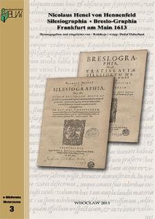 Nicolaus Henel von Hennenfeld Silesiographia Breslo-Graphia Frankfurt am Main 1613