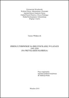 Osiedle żydowskie na Dolnym Śląsku w latach 1945-1950. Rozd. I, Osiedle żydowskie na Dolnym Śląsku – zarys problematyki