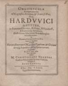 Oratiuncula In exsequiis sollemnibus Magnifici [...] Dn. Hardwici de Stitten [...] / Dicta a M. Christophoro Neandro [...].