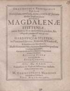 Oratiuncula Exsequialis post funus [...] Magdalenae Stitteniae, natae Ashelmiae de Goldschmieden [...] / Dicta [...] a M. Christophoro Neandro [...].