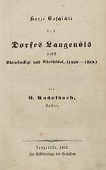 Kurze Geschichte des Dorfes Langenöls nebst Kleinstöckigt und Gieshübel (1440 – 1859).