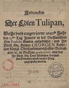Andencken Der Eden Tulipan, Welche dieses […] 1662ste Jahr den 25sten Tag Jenner in des […]Hrn. Praesidis Garten aufgebluehet […]