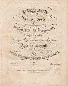 Quatuor pour le piano-forté avec accompagnement de violon, alto et violoncelle : oeuvre 1.