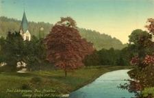 Bad Langenau, Bez. Breslau. Evang. Kirche mit Neissefluss.