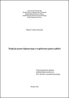 Tradycje prawa hipotecznego a współczesne prawo polskie - Wstęp