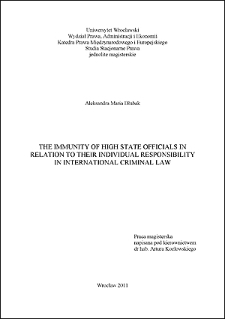 The immunity of high state officials in relation to their individual responsibility in international criminal law - Conclusions