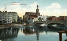 Breslau, Blick auf die Werderbrücke mit Elisabethkirche.