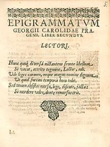 Epigrammatum Georgii Carolidae [...] Liber Secundus.