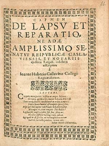 Carmen De Lapsu Et Reparatione Adae [...] / a Ioanne Hubecio [...].