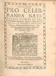 Parainesis Angelica Pro Celebranda Nativitate Domini Et Salvatoris Nostri Iesu Christi / Scripta [...] a Vito Methodio Palrzimovino [...].