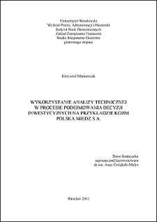 Wykorzystanie analizy technicznej w procesie podejmowania decyzji inwestycyjnych na przykładzie KGHM Polska Miedź S.A.