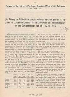 Die Stellung der Stadtbehörden zum Hochwasserschutz der Stadt Breslau und die Kritik der Schlesischen Zeitung an der Abwesenheit des Oberbürgermeisters bei den Überschwemmungen vom 14.-16. Juli 1903.