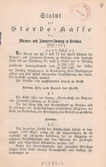 Statut der Sterbe-Kasse der Maurer- und Zimmerer-Innung zu Breslau