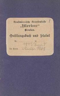 """Statut der Unterstützungs-Kasse """"Merkur"""" freie Vereinigung von Kaufleuten : eingeschriebene Hilfskasse"""