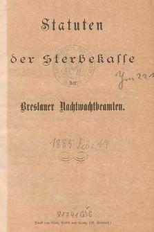 Statuten der Sterbekasse der Breslauer Nachtwachtbeamten