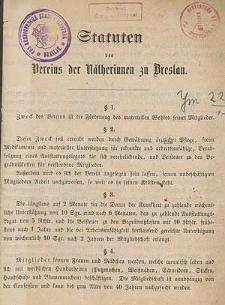 Statuten des Verein der Nätherinnen zu Breslau