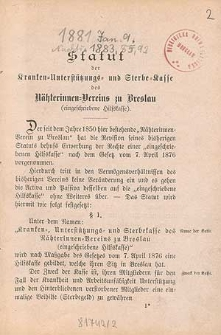 Statut der Kranken-Unterstützungs- und Sterbe-Kasse des Nätherinnen-Vereins zu Breslau : (eingeschriebene Hilfskasse)