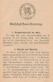 """Statut der Kranken- und Sterbekasse für Schiffer """"Neptun"""" Eingeschriebene Hilfskasse zu Breslau"""