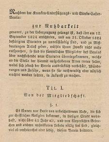 Statuten für den Kranken-Unterstützungs- und- Sterbe-Kassen- Verein zur Nutzbarkeit genannt in Breslau / Redigirt vom Melcher