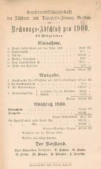 Rechnungs-Abschluß pro 1900
