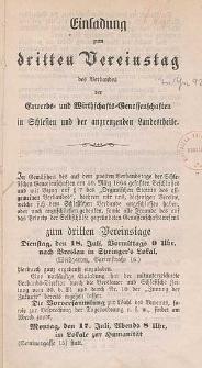Einladung zum dritten Vereinstag des Verbandes der Erwerbs- und Wirtschafts-Genossenschaften in Schlesien und der angrenzenden Landestheile