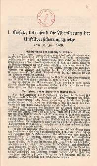 Gesetz, betreffend die Abänderung der Unfallversicherungsgesetze vom 30. Juni 1900