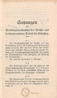 Satzungen des Provinzialverband der Reichs- und freikonservativen Partei für Schlesien