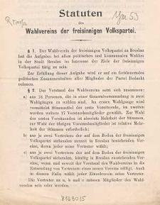 Statuten des Wahlvereins der freisinnigen Volkspartei
