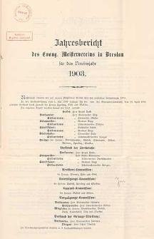 Jahresbericht des Evang. Meister-Vereins zu Breslau über das Vereinsjahr 1902