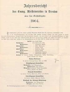 Jahresbericht des Evang. Meistervereins zu Breslau für das Vereinsjahr 1903