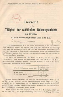 Bericht über die Tätigkeit der Städtischen Wohnungsaufsicht zu Breslau : in den Rechnungsjahren 1910 und 1911