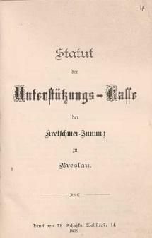 Statut für das Schiedsgericht der Kretschmer-Innung zu Breslau