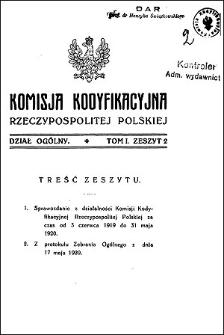 Komisja Kodyfikacyjna Rzeczypospolitej Polskiej. Dział Ogólny 1922 T. 1, z. 4
