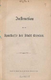 Instruction für die Sparkasse der Stadt Breslau