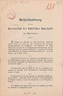 Geschäftsordnung für das Kuratorium der Städtischen Sparkasse zu Breslau