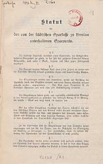 Statut für den von der Stadtischen Sparkasse zu Breslau unterhaltenen Sparverein